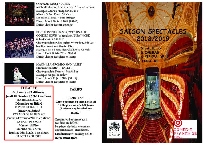 Programme Opéra, Ballet et Théâtre saison 2018-2019